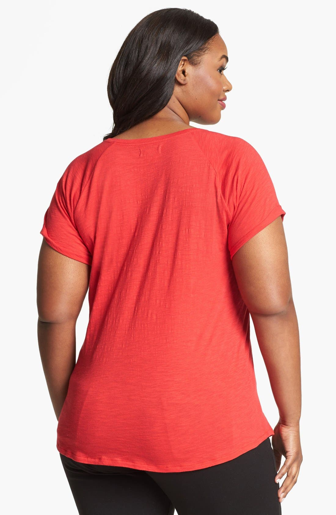 Alternate Image 2  - Lucky Brand 'Avani' Embellished Cotton Tee (Plus Size)