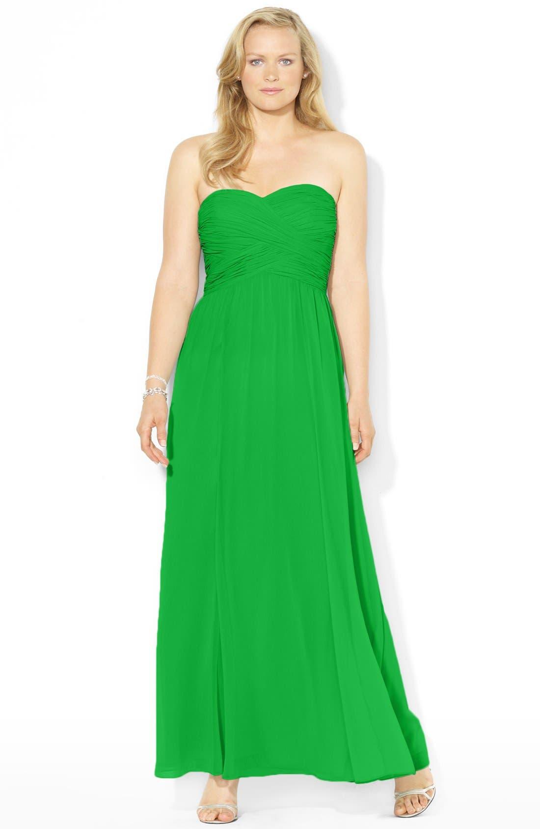 Main Image - Lauren Ralph Lauren Pleated Georgette Gown (Plus Size)