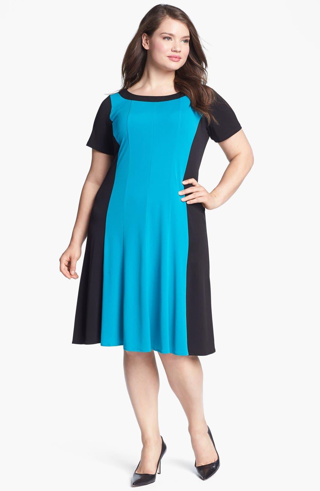 Alternate Image 1 Selected - London Times Colorblock Matte Jersey Dress (Plus Size)