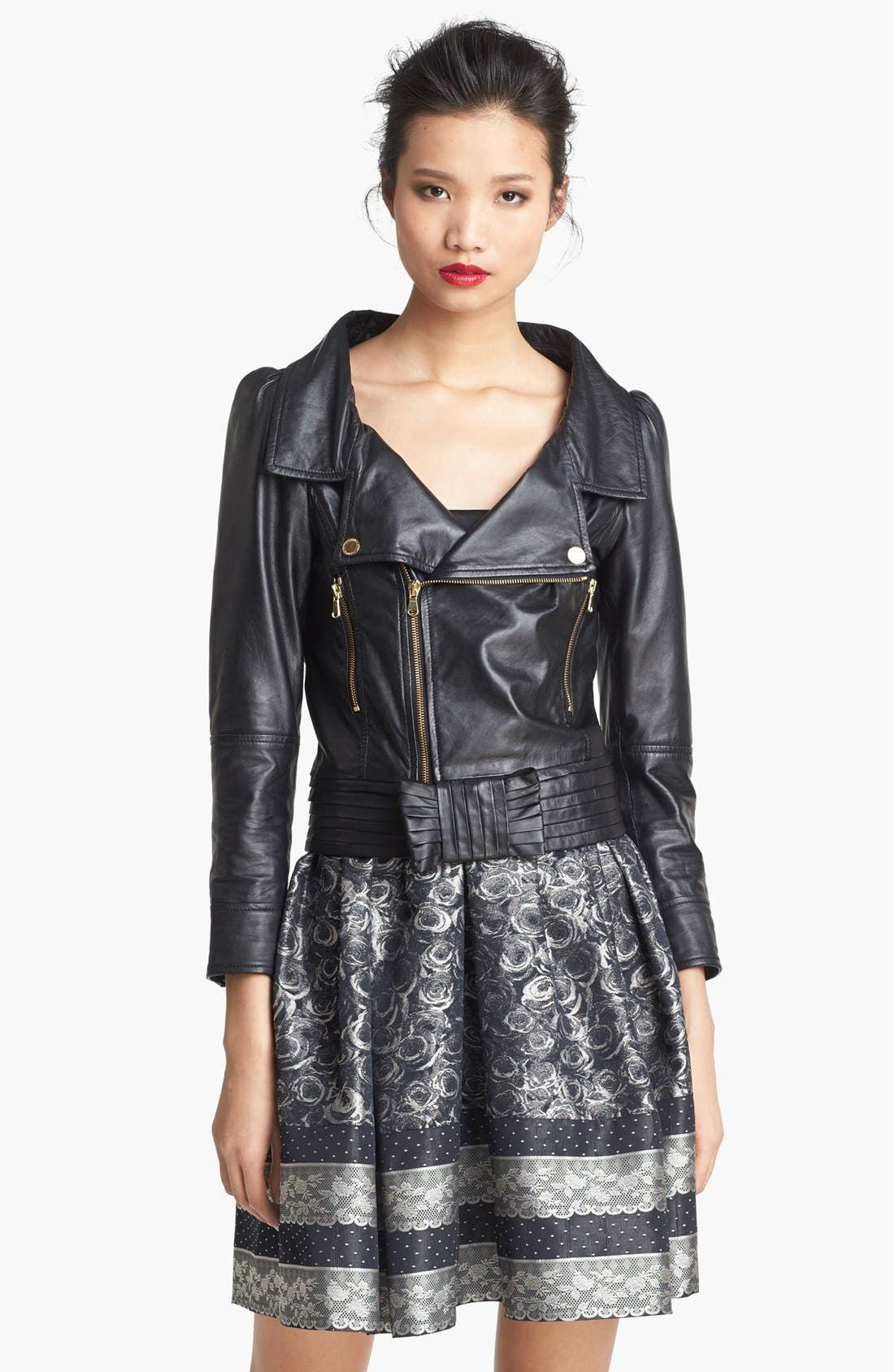 Alternate Image 1 Selected - RED Valentino Bow Detail Leather Jacket