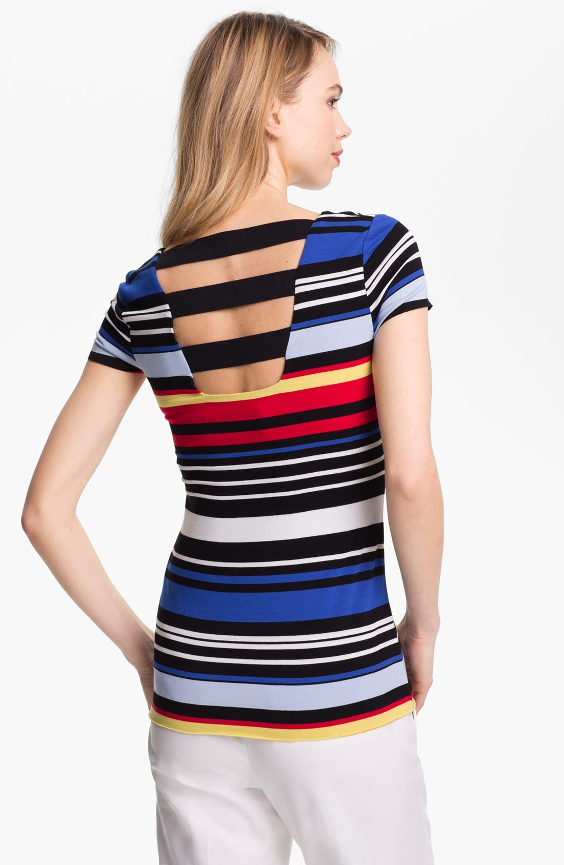 Alternate Image 2  - Vince Camuto Back Cutout Stripe Tee