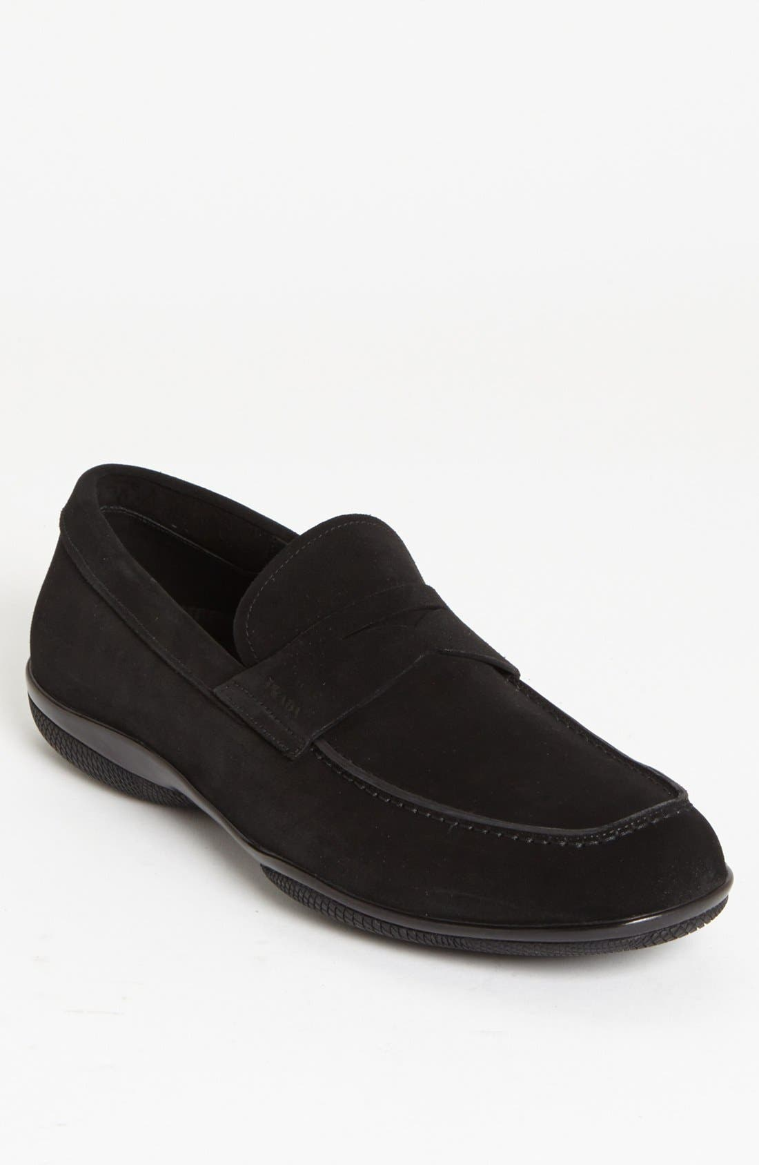Alternate Image 1 Selected - Prada 'Toblac' Suede Penny Loafer