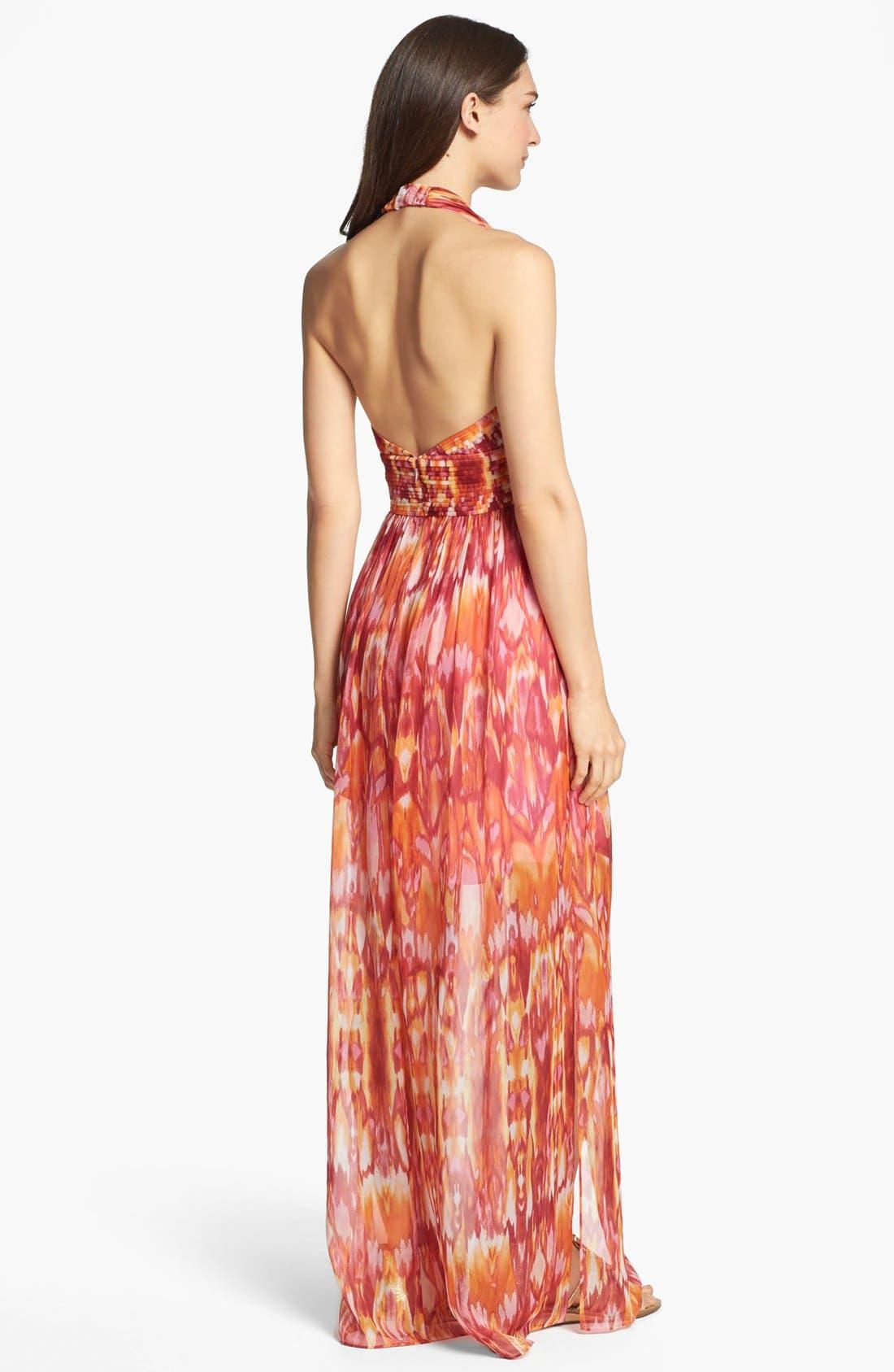 Alternate Image 2  - Laundry by Shelli Segal 'Sun Shadow' Print Halter Dress