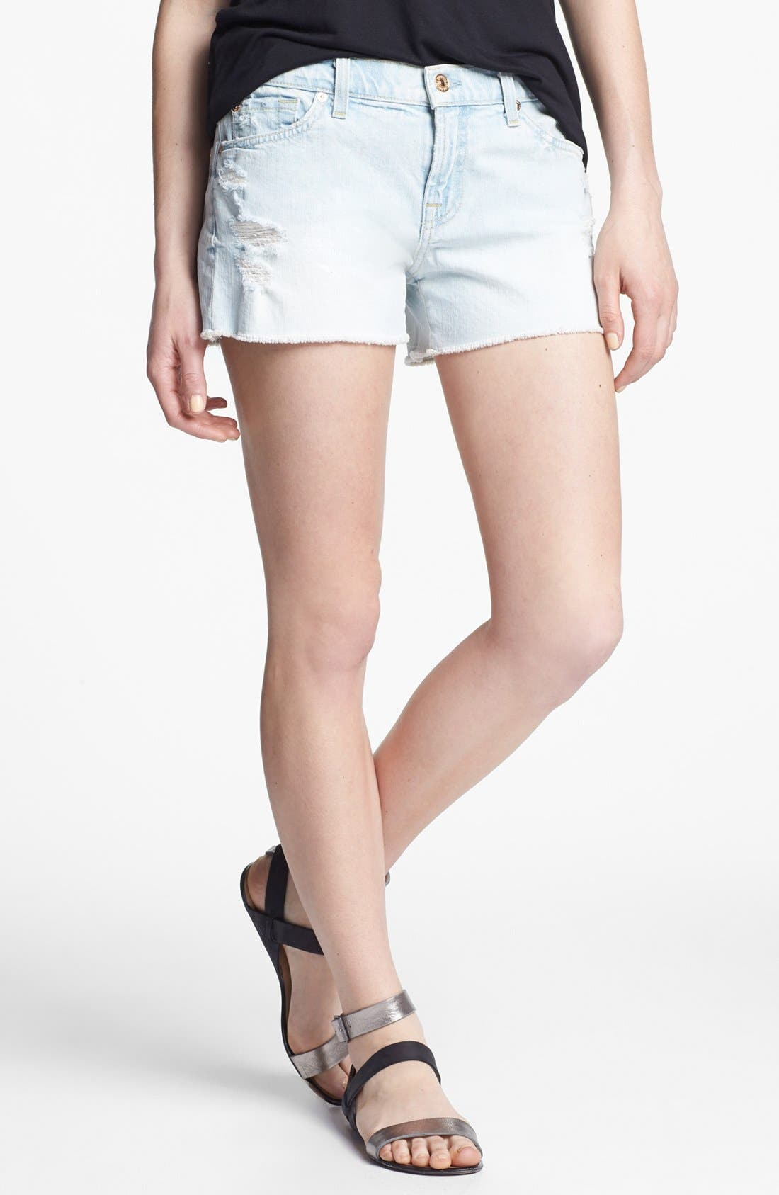 Main Image - 7 For All Mankind® Cutoff Denim Shorts (Distressed Light)