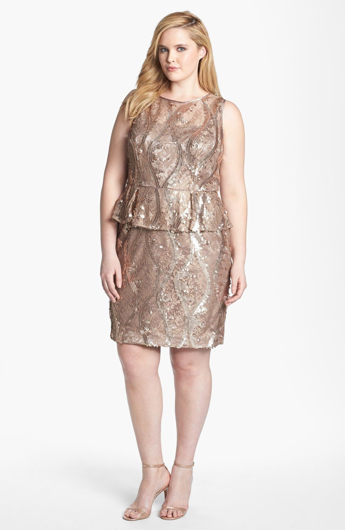 Main Image - Adrianna Papell Sequin & Lace Peplum Dress (Plus Size)