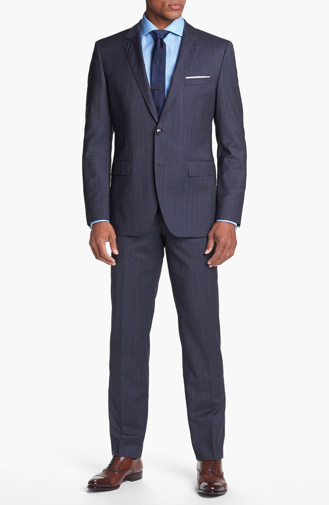 Alternate Image 1 Selected - BOSS HUGO BOSS 'James/Sharp' Trim Fit Plaid Suit