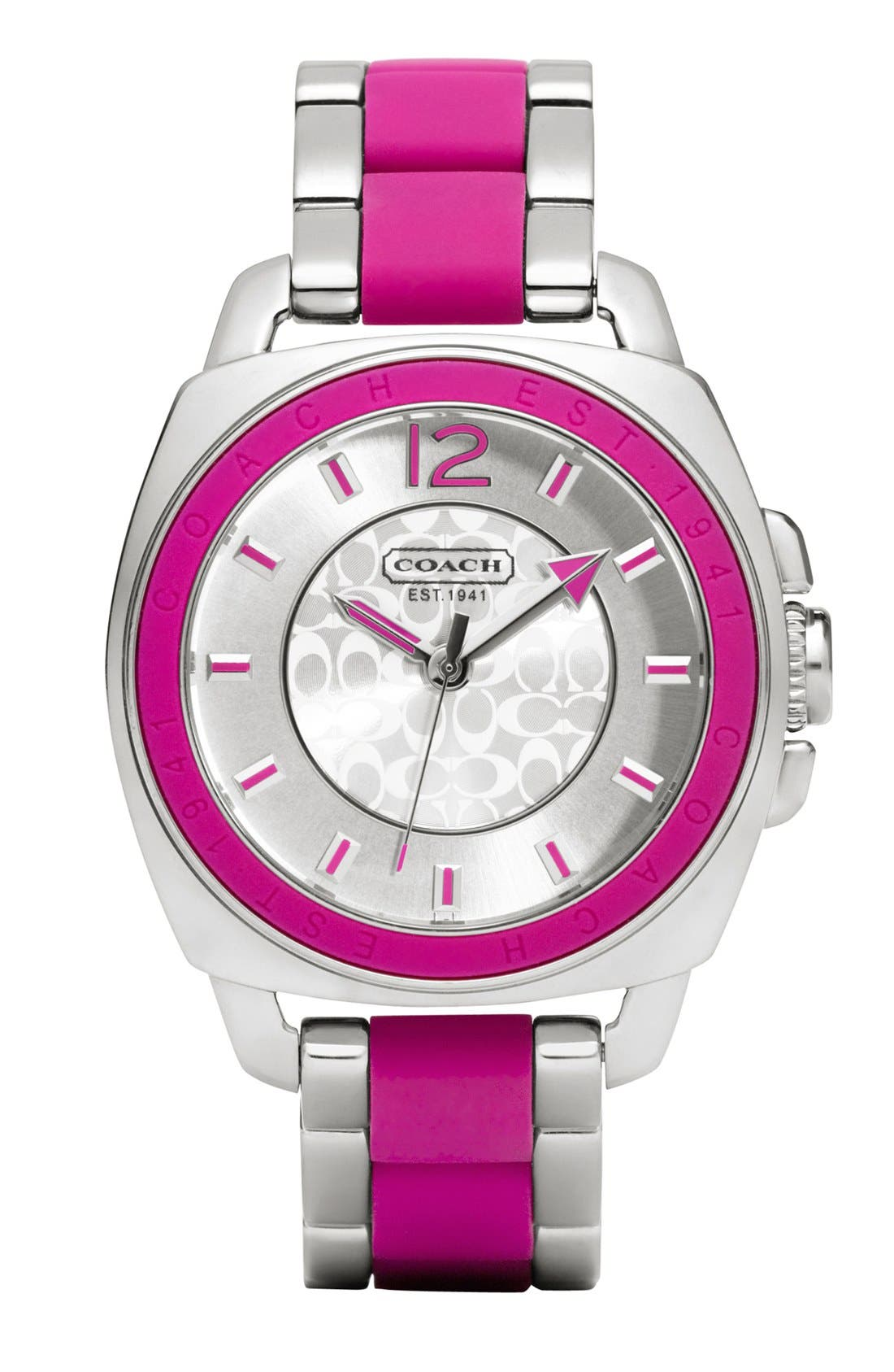 Alternate Image 1 Selected - COACH 'Boyfriend' Silicone Bezel Bracelet Watch