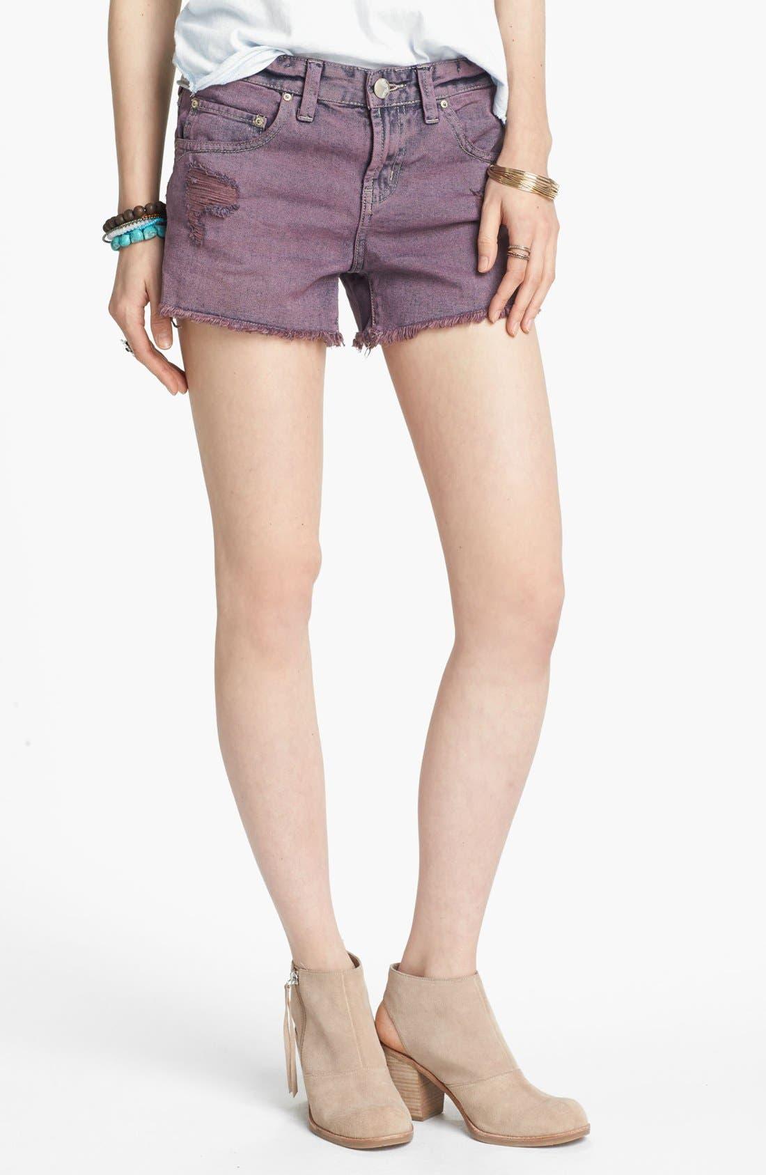 Alternate Image 1 Selected - Free People Overdyed Cutoff Denim Shorts (Lavender Haze)