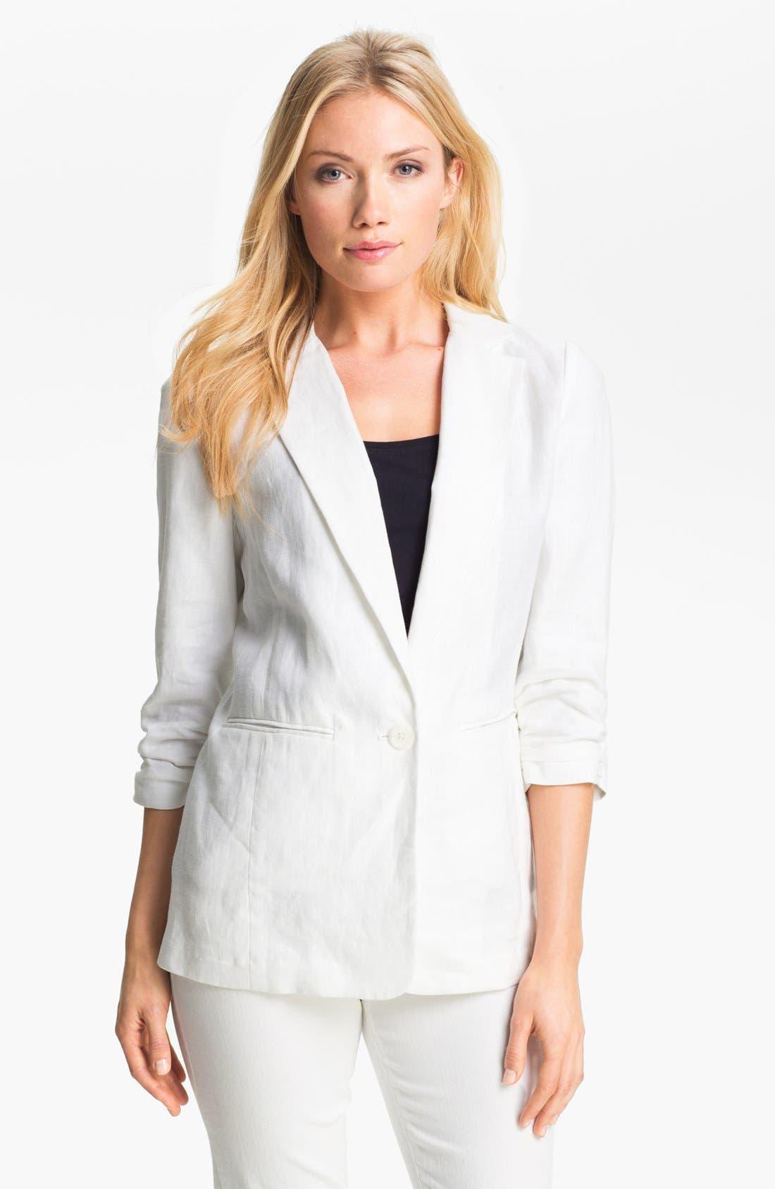 Alternate Image 1 Selected - MICHAEL Michael Kors Shirred Sleeve Jacket (Petite)