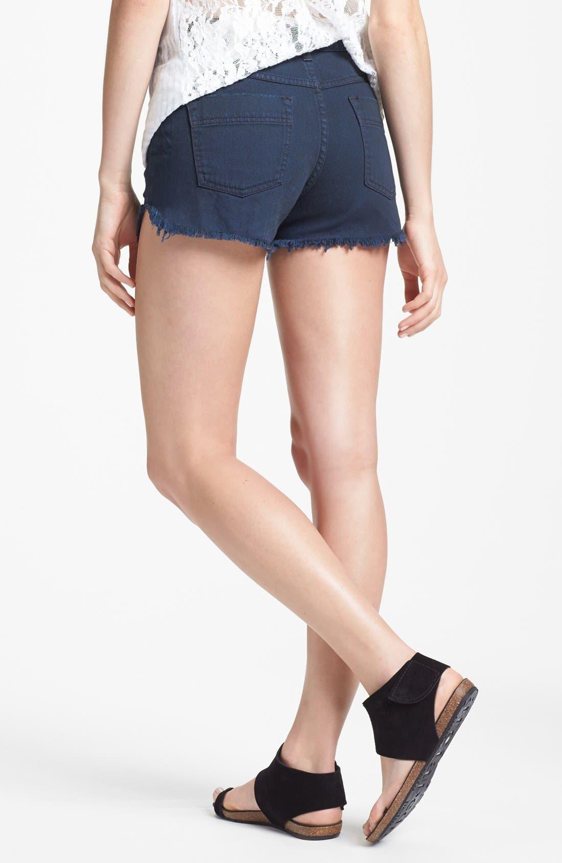 Alternate Image 2  - Free People 'Dolphin' Cutoff Denim Shorts (Blue/Black)
