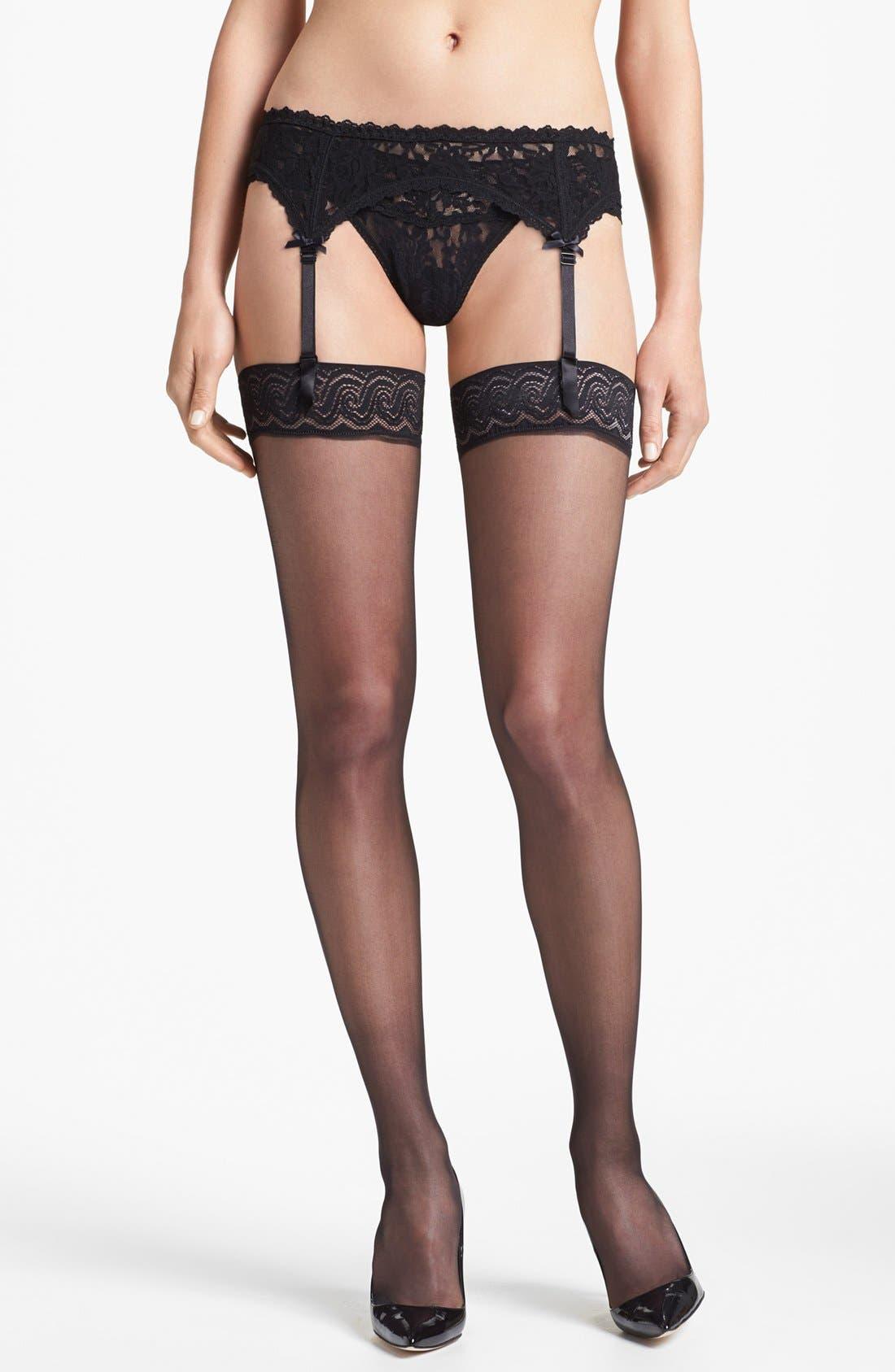 Alternate Image 1 Selected - Pretty Polly 10 Denier Gloss Thigh High Stockings