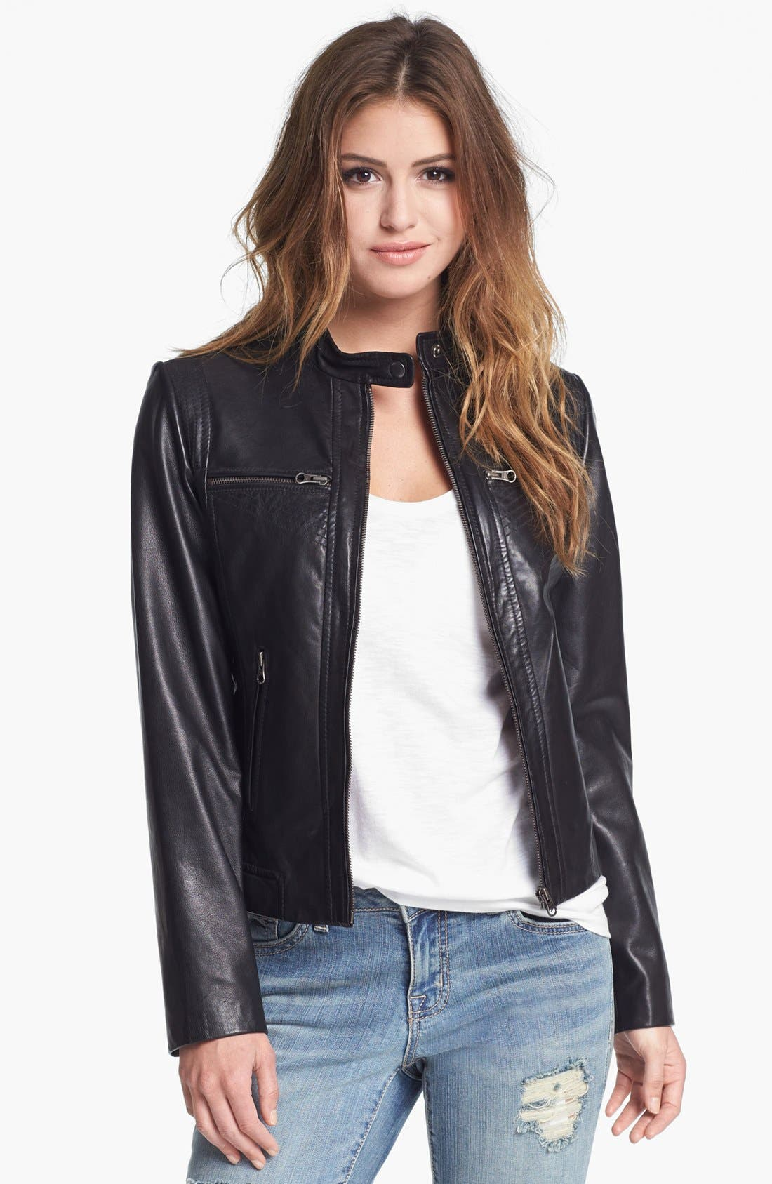 Alternate Image 1 Selected - Bernardo Tab Collar Leather Jacket (Regular & Petite) (Nordstrom Exclusive)