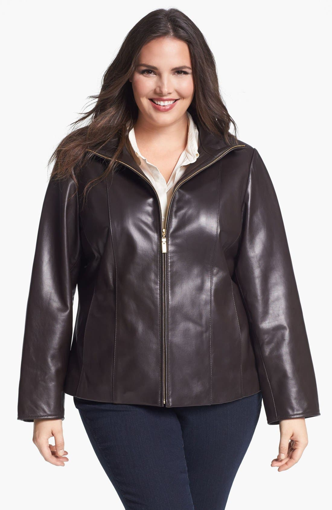 Alternate Image 1 Selected - Ellen Tracy Zip Front Leather Scuba Jacket (Plus Size)