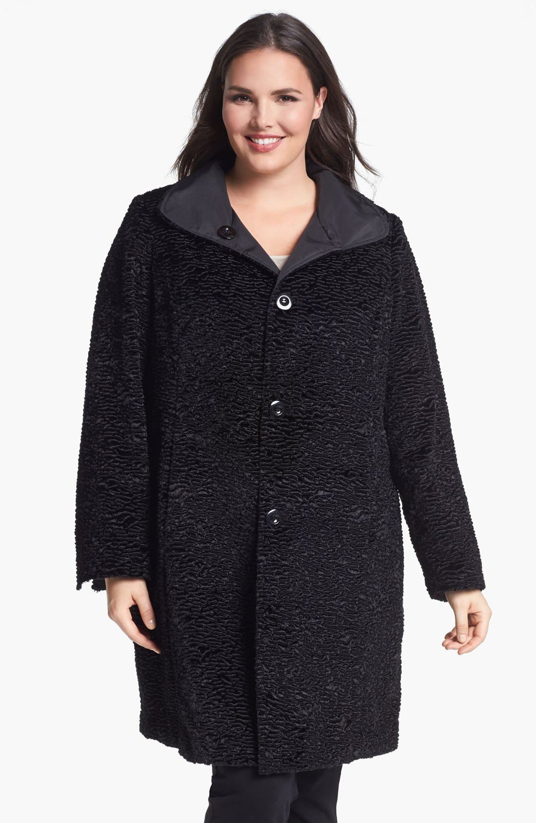 Alternate Image 1 Selected - Ellen Tracy Reversible Faux Persian Fur Coat (Plus Size) (Nordstrom Exclusive)