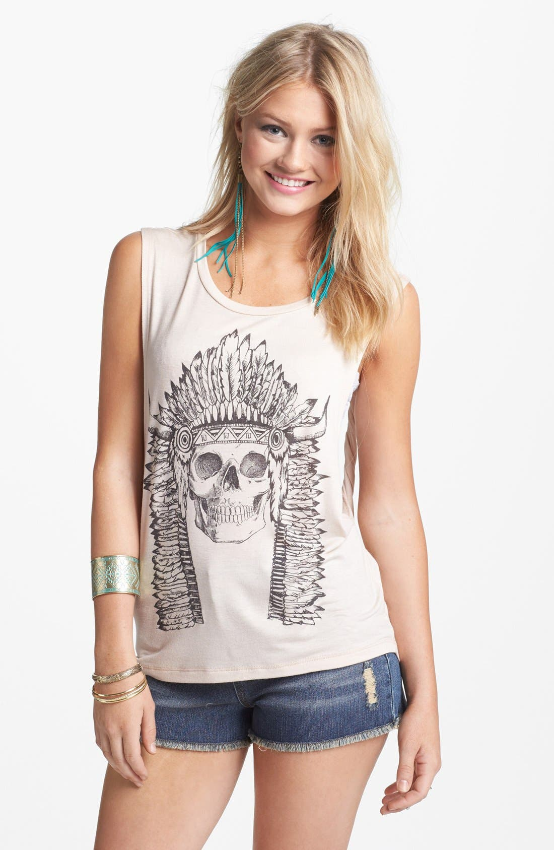 'Skull' Graphic Twist Back Muscle Tank,                         Main,                         color, Beige