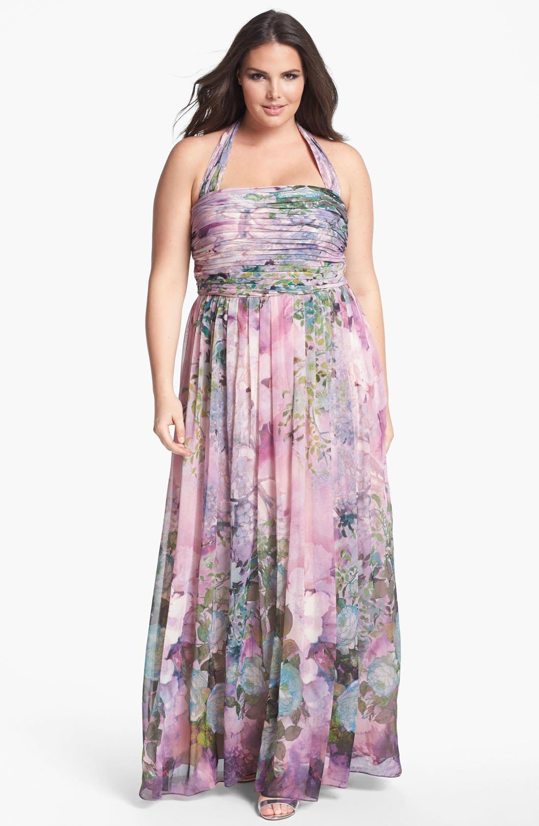 Alternate Image 1 Selected - Adrianna Papell Print Chiffon Halter Dress (Plus Size)