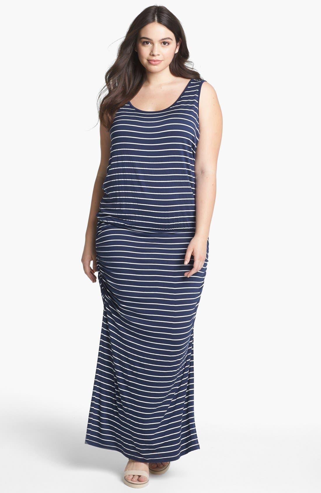 Main Image - Olivia Moon Stripe Tank Maxi Dress (Plus Size)