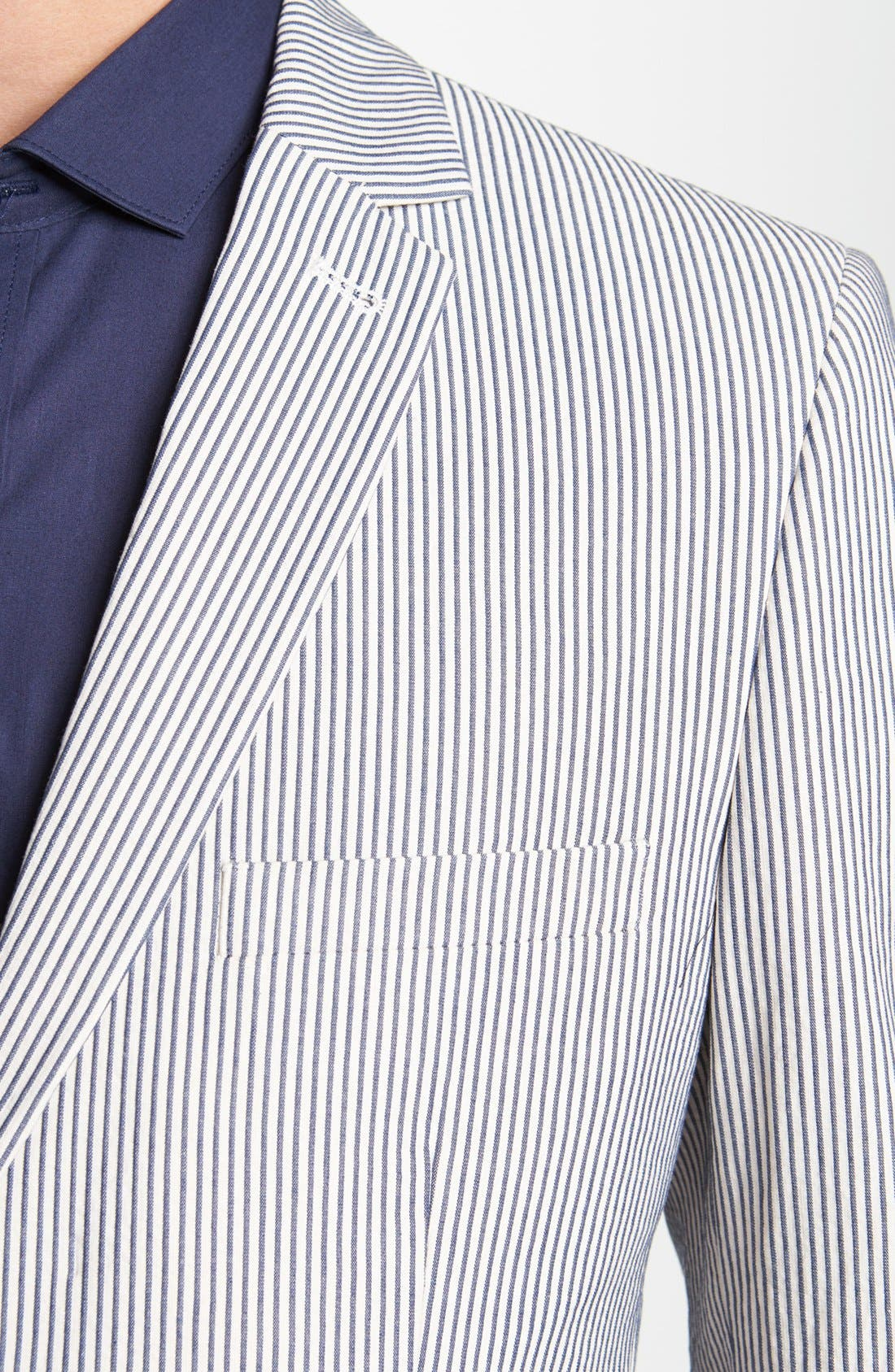 Alternate Image 3  - Topman Skinny Seersucker Blazer