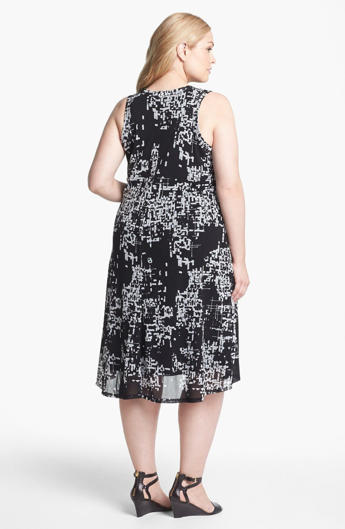 Alternate Image 2  - Karen Kane Print Chiffon A-Line Dress (Plus Size)