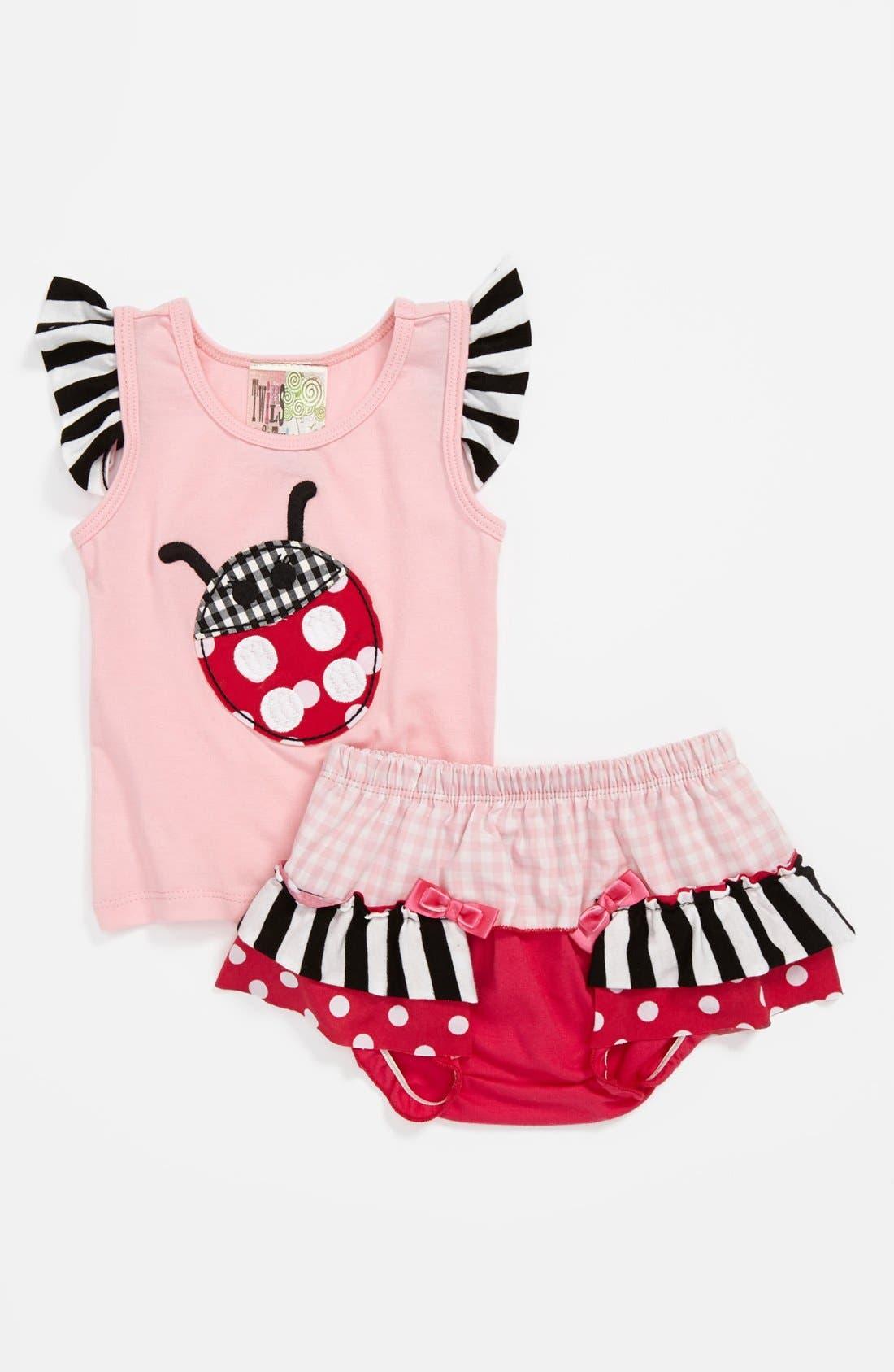 Alternate Image 1 Selected - Twirls & Twigs 'Ladybug' Top & Bloomers (Baby Girls)