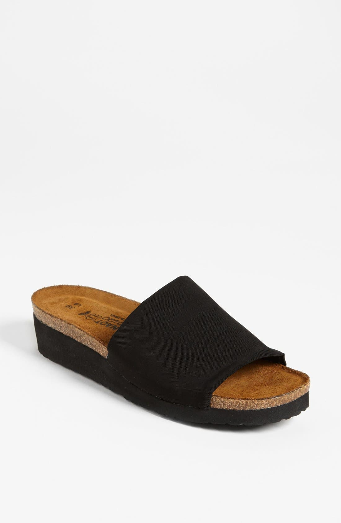 'Alana' Sandal,                             Main thumbnail 1, color,                             Black Stretch