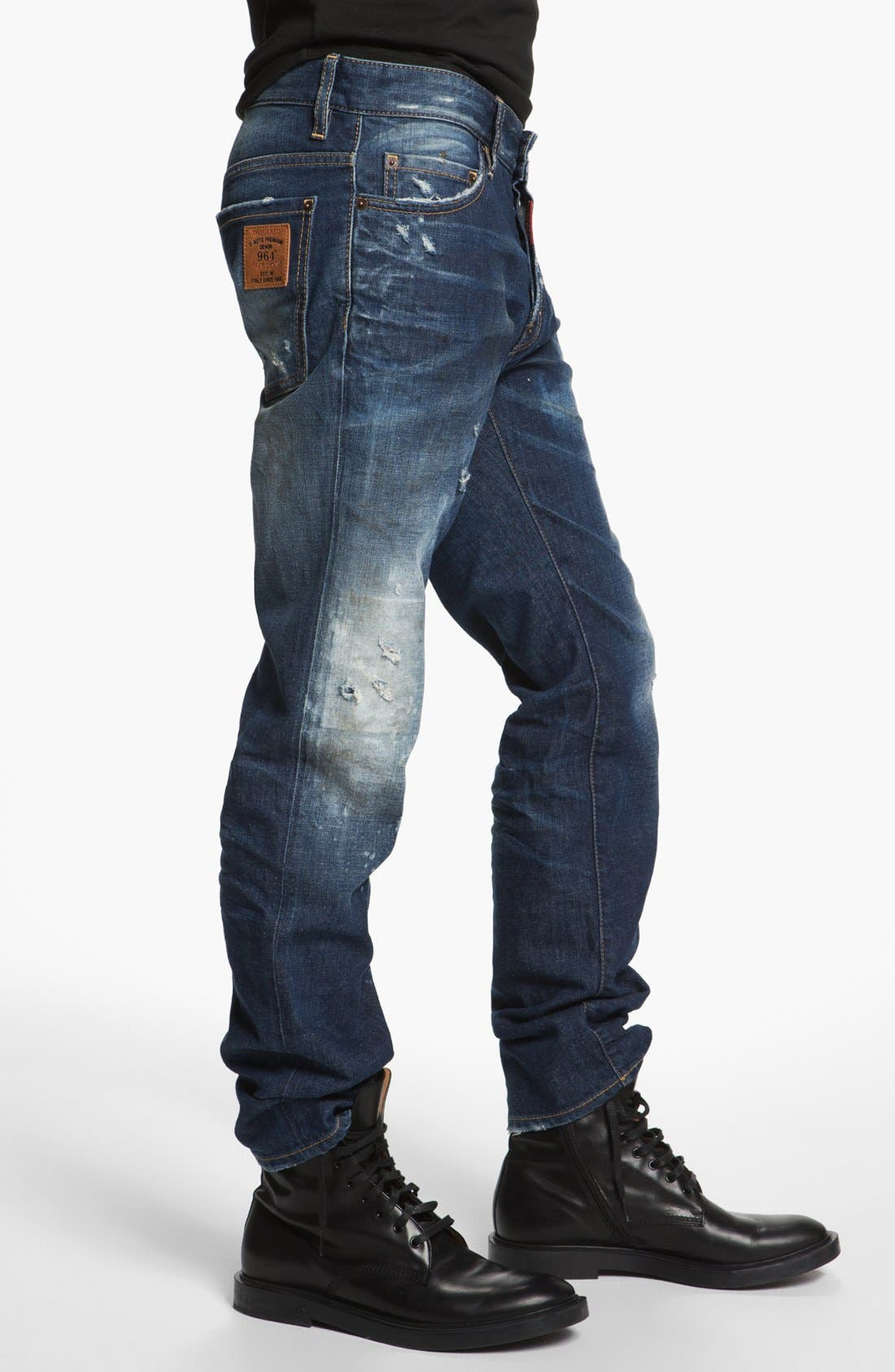 Alternate Image 3  - Dsquared2 'Dean' Narrow Straight Leg Jeans (Blue)