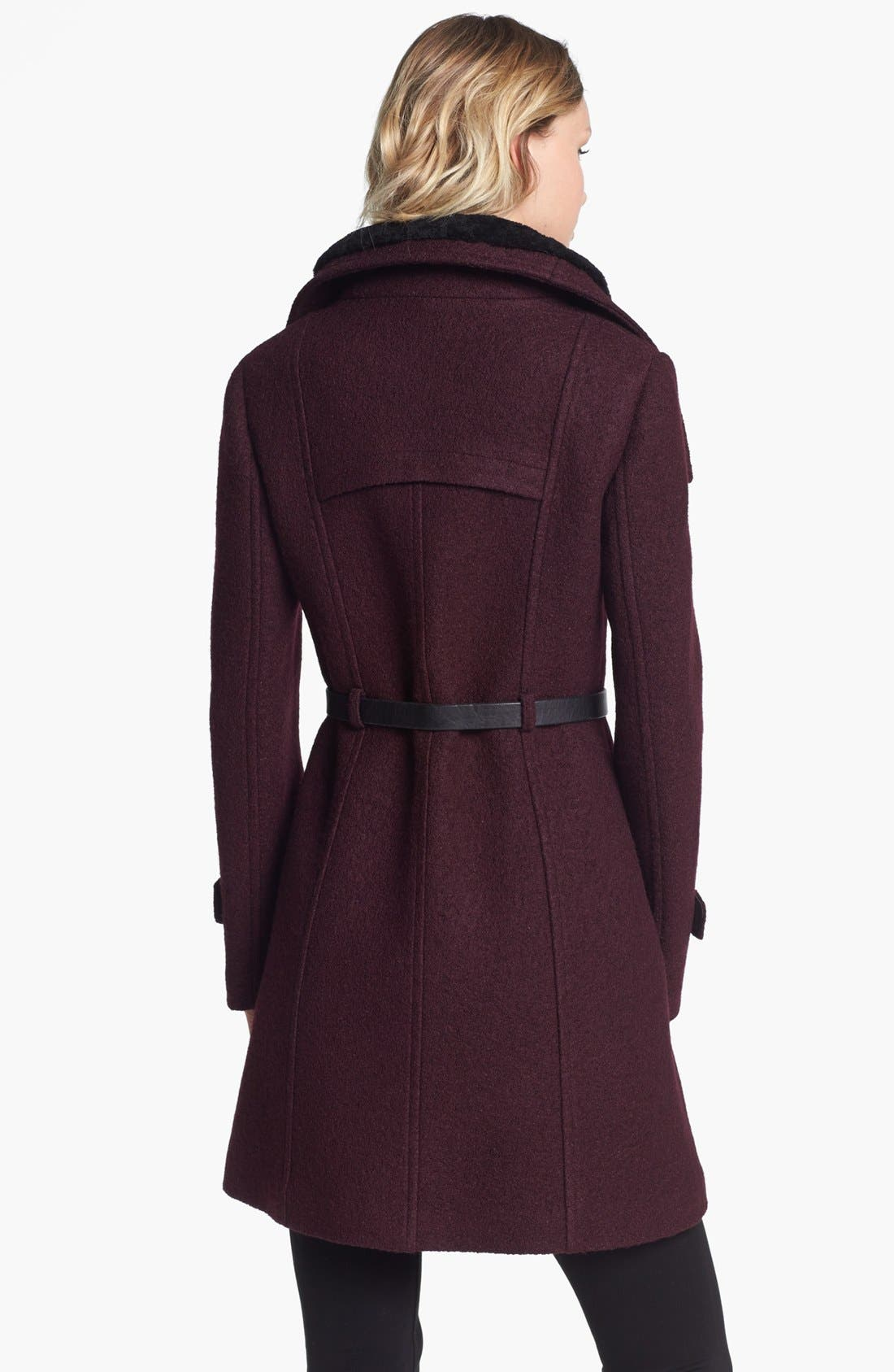Alternate Image 2  - Soia & Kyo Wing Collar Coat with Genuine Shearling Inset