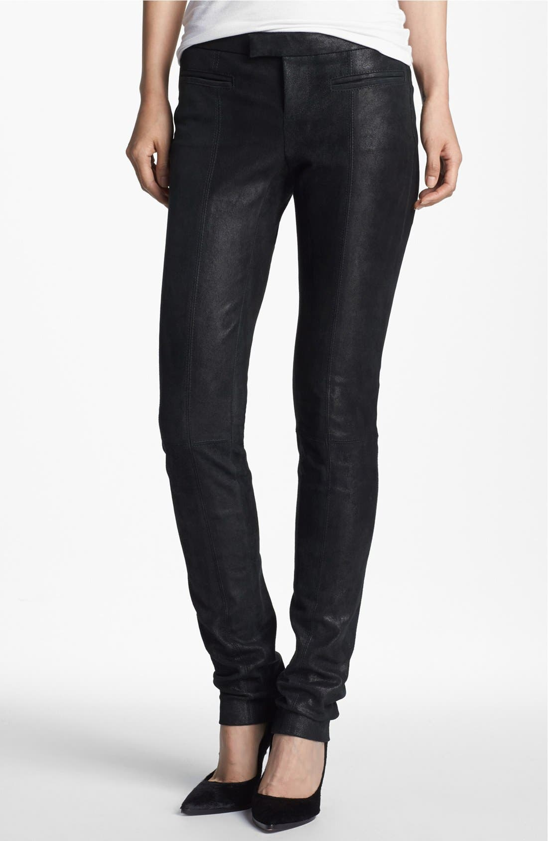 Alternate Image 1 Selected - Helmut Lang Stovepipe Stretch Leather Leggings