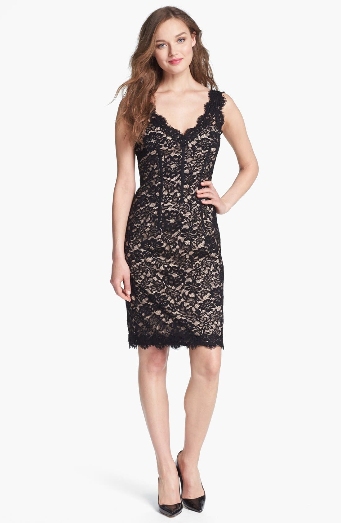 Main Image - ML Monique Lhuillier Sleeveless Lace Sheath Dress