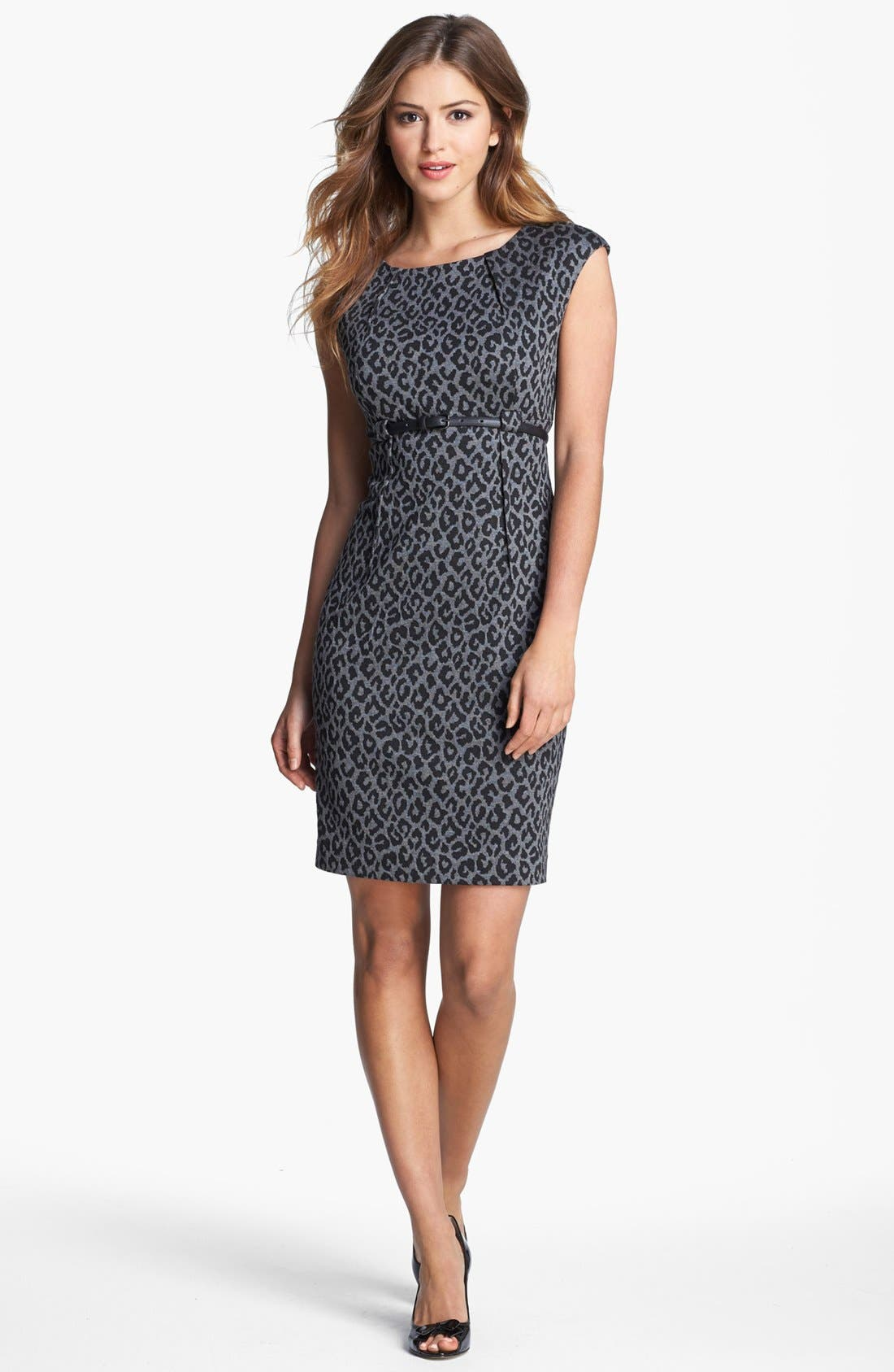 Main Image - Calvin Klein Animal Print Cap Sleeve Ponte Sheath Dress