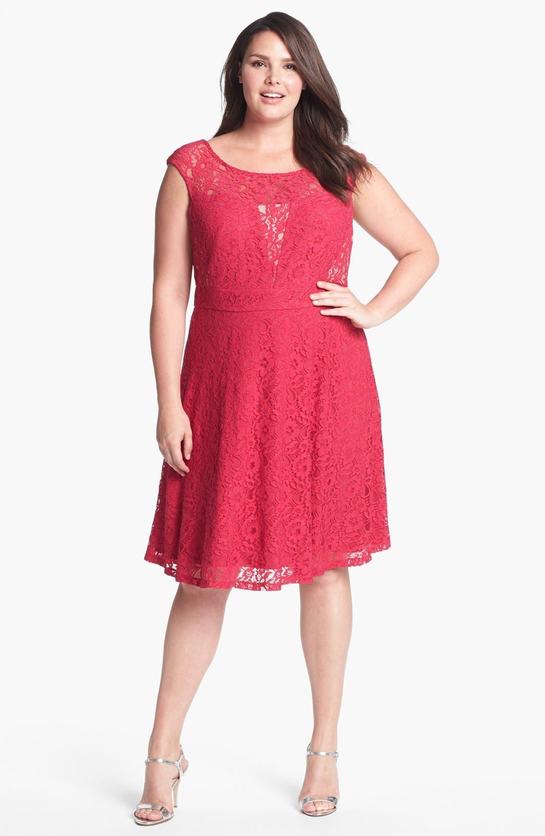 Main Image - Donna Ricco Lace Fit & Flare Dress (Plus Size)