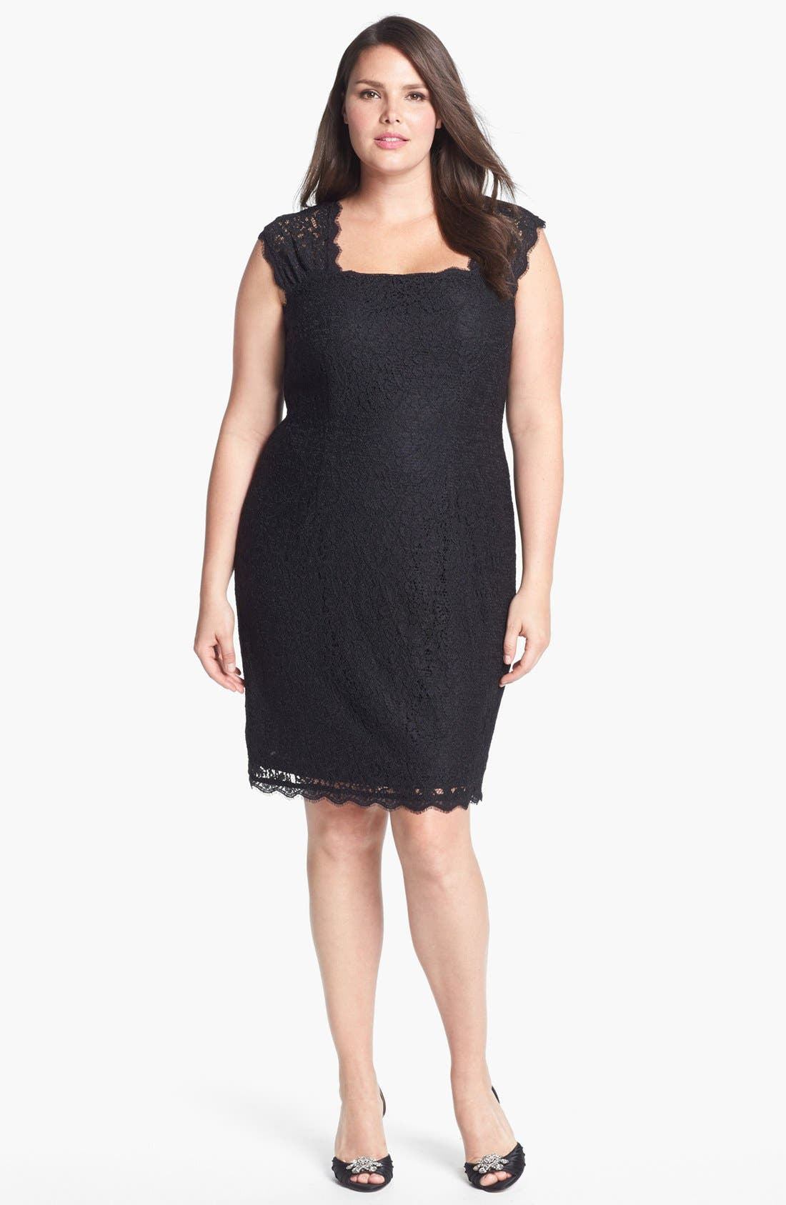 Main Image - Adrianna Papell Lace Sheath Dress (Plus Size)