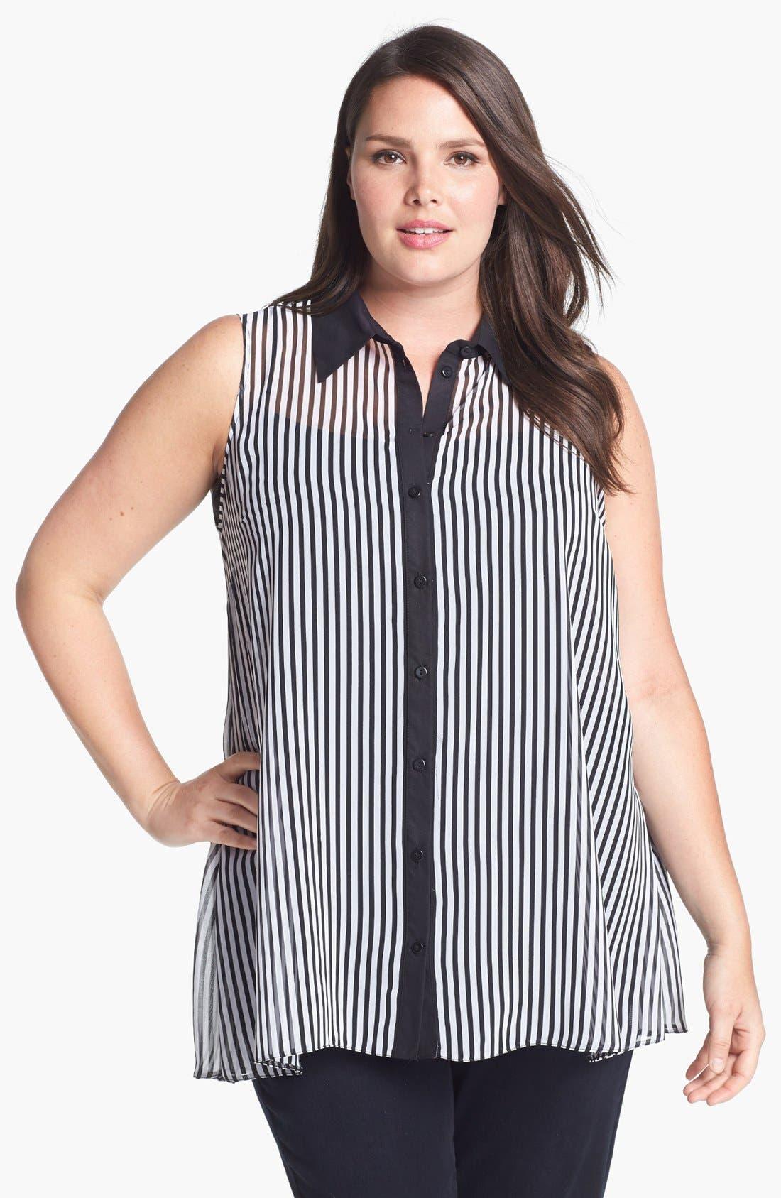Alternate Image 1 Selected - Evans Mono Stripe Sleeveless Blouse (Plus Size)