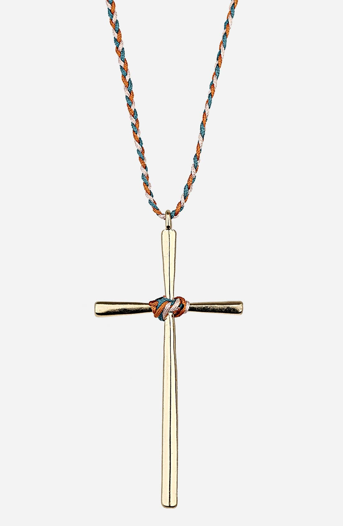 Main Image - Topshop Cord Cross Pendant Necklace