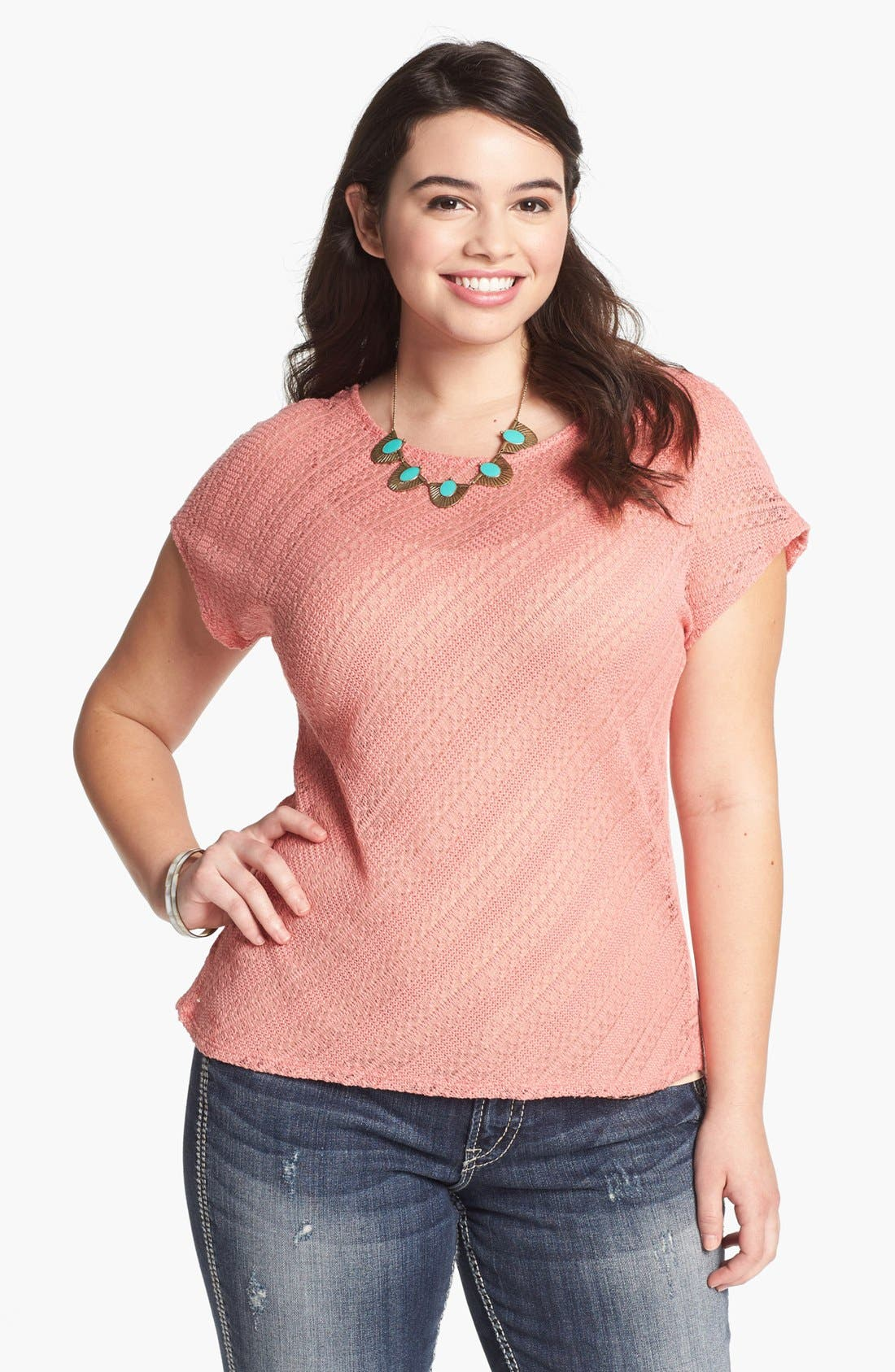 Main Image - Painted Threads Open Knit Top (Juniors Plus)