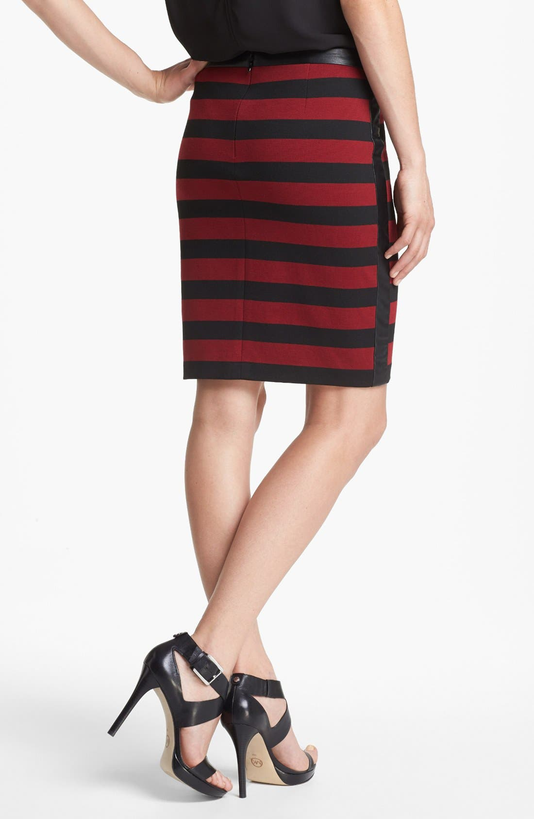 Faux Leather Trim Stripe Pencil Skirt,                             Alternate thumbnail 2, color,                             Rhubarb