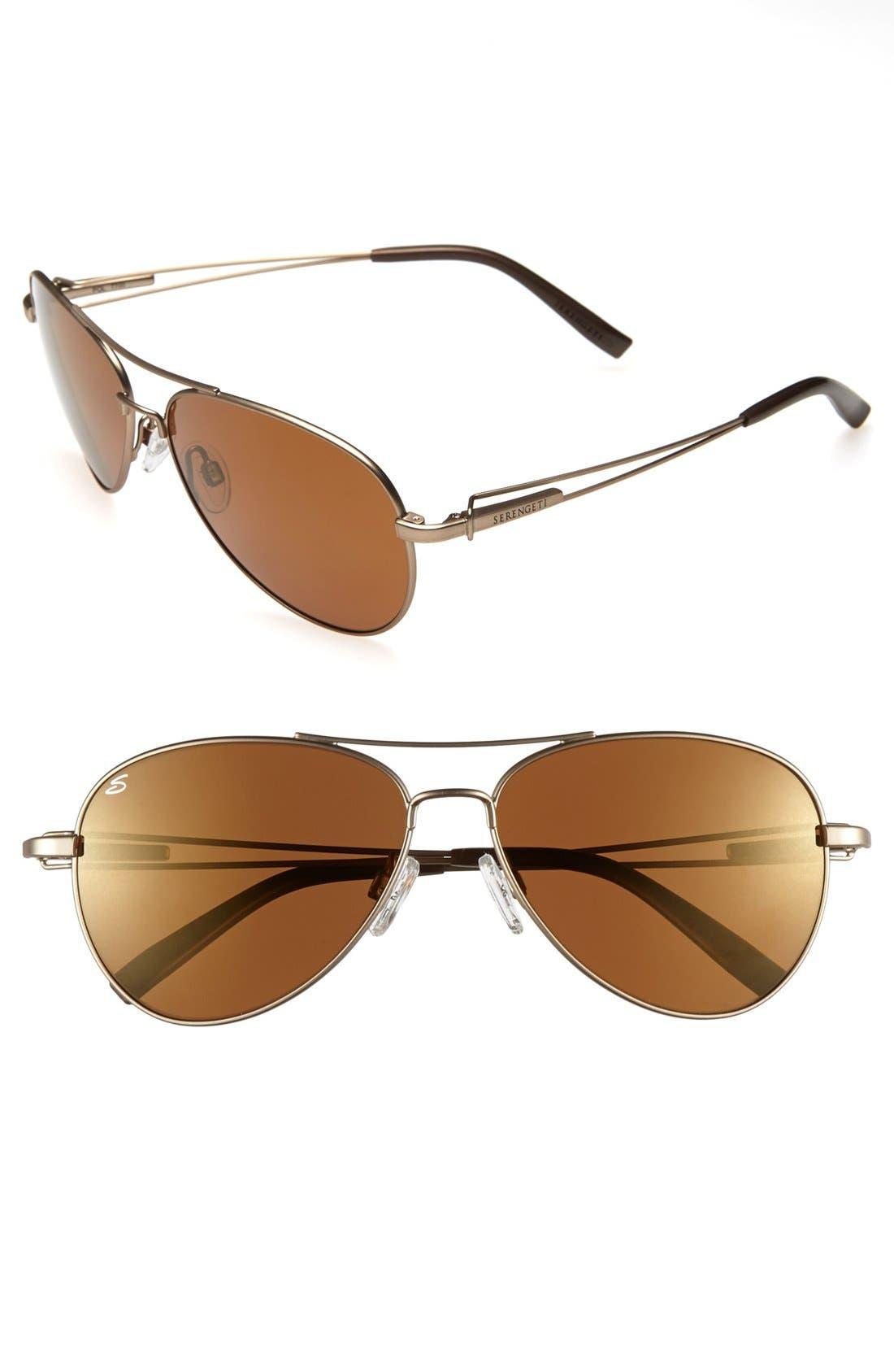 Main Image - Serengeti Polarized 60mm Aviator Sunglasses
