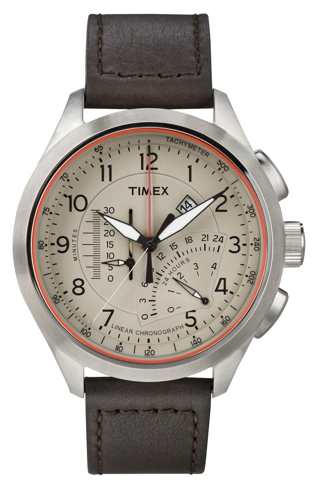 Alternate Image 1 Selected - Timex® 'Intelligent Quartz' Linear Chronograph Watch, 45mm