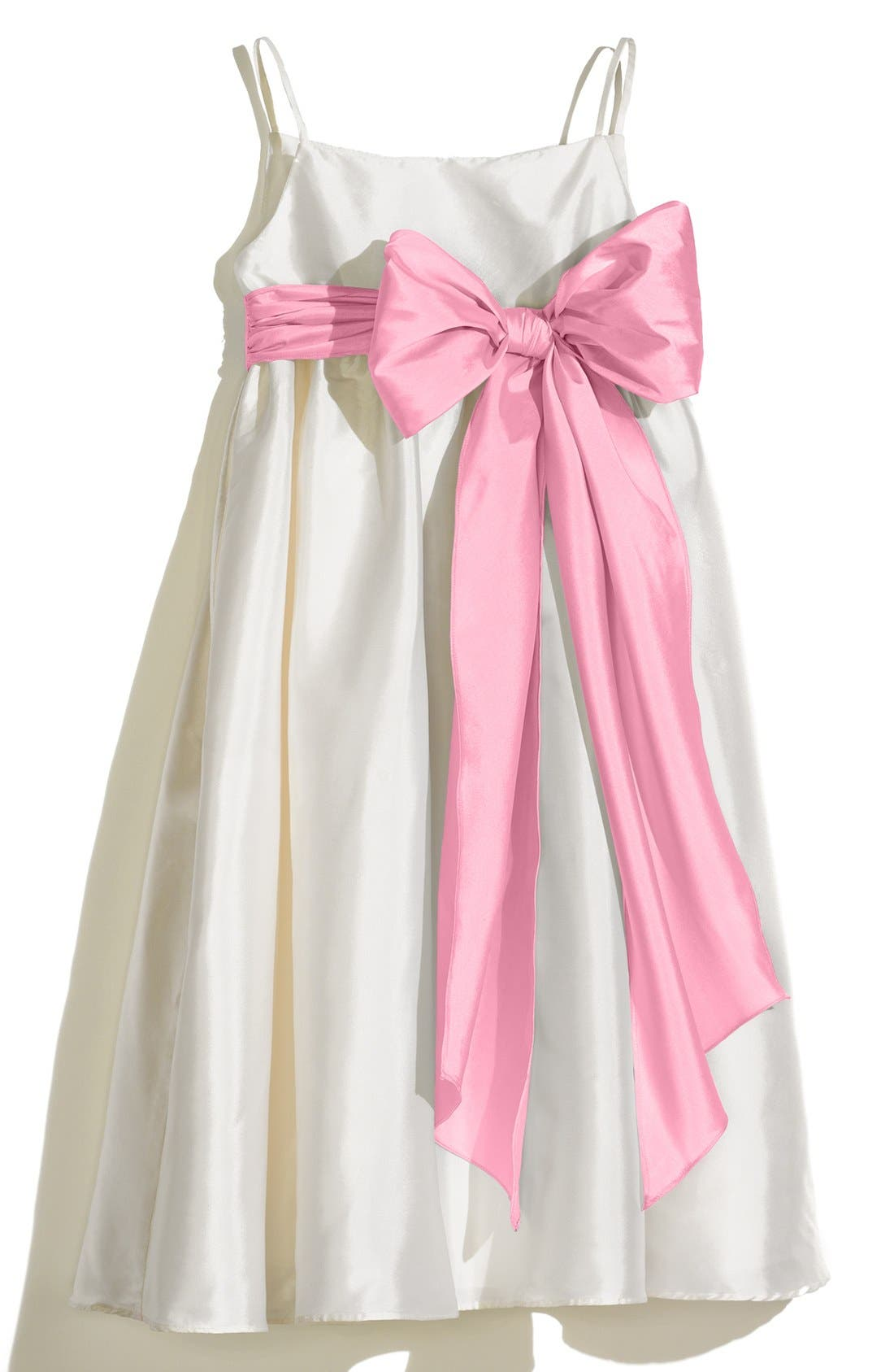 A-Line Dress with Sash,                             Main thumbnail 1, color,                             Ivory/ Cotton Candy