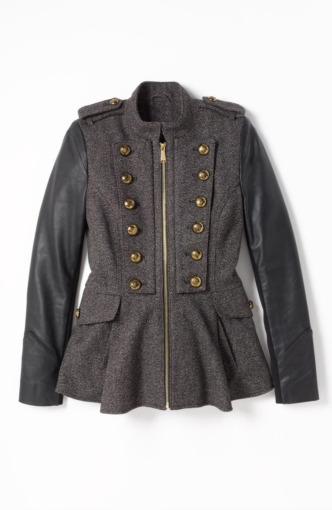Alternate Image 4  - BCBGeneration Tweed & Faux Leather Military Jacket