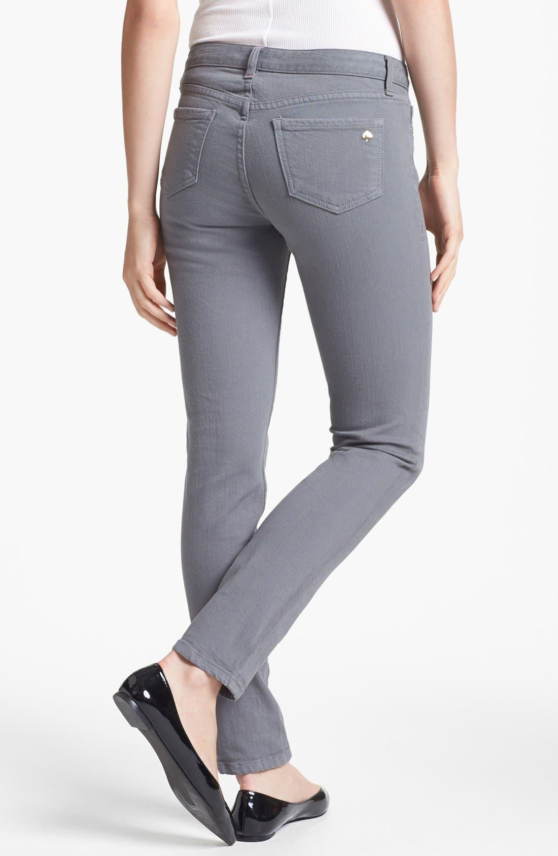 Alternate Image 2  - kate spade new york 'broome street' overdyed skinny jeans (Medium Grey)