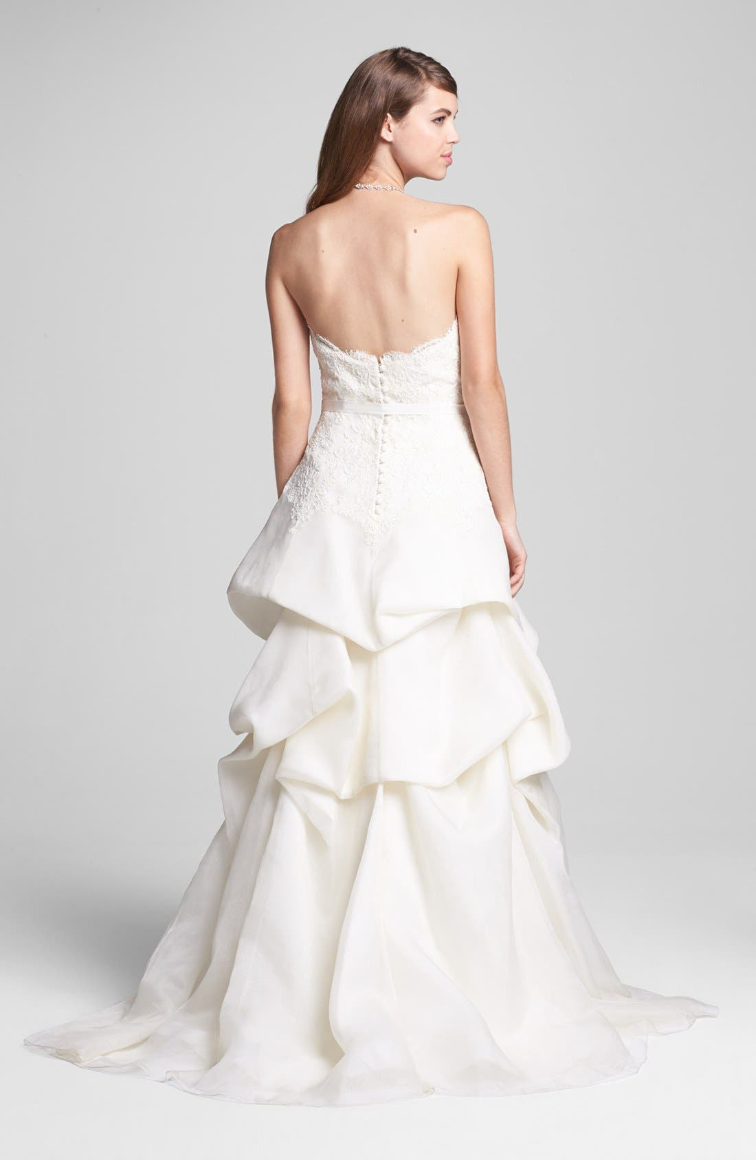 Alternate Image 2  - BLISS Monique Lhuillier Embroidered Lace & Tiered Organza Dress