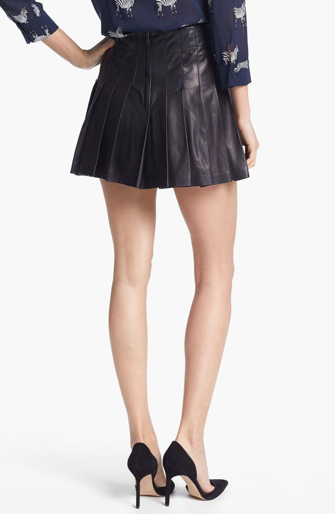 Alternate Image 3  - Alice + Olivia Pleated Leather Miniskirt