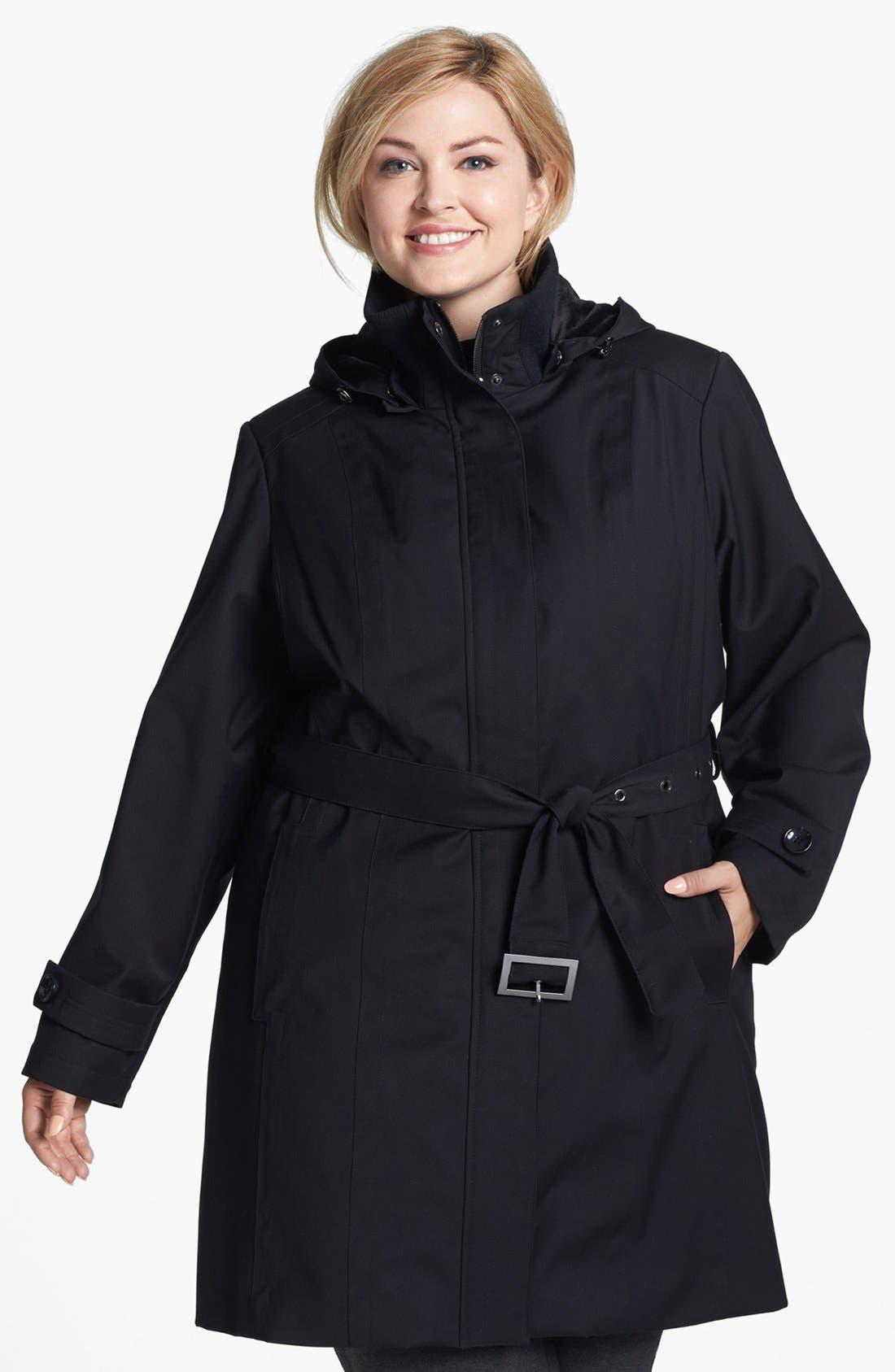 Main Image - Kristen Blake Knit Collar Raincoat with Detachable Hood & Liner (Plus Size)