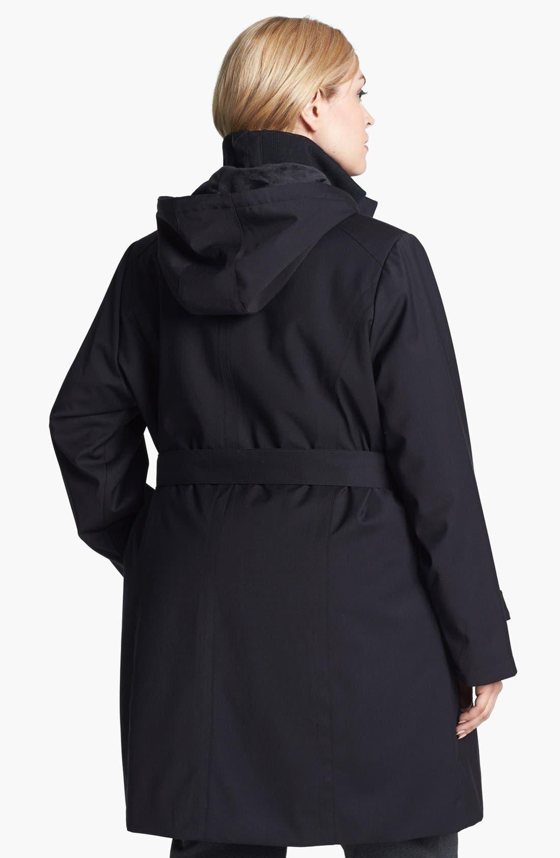 Alternate Image 2  - Kristen Blake Knit Collar Raincoat with Detachable Hood & Liner (Plus Size)