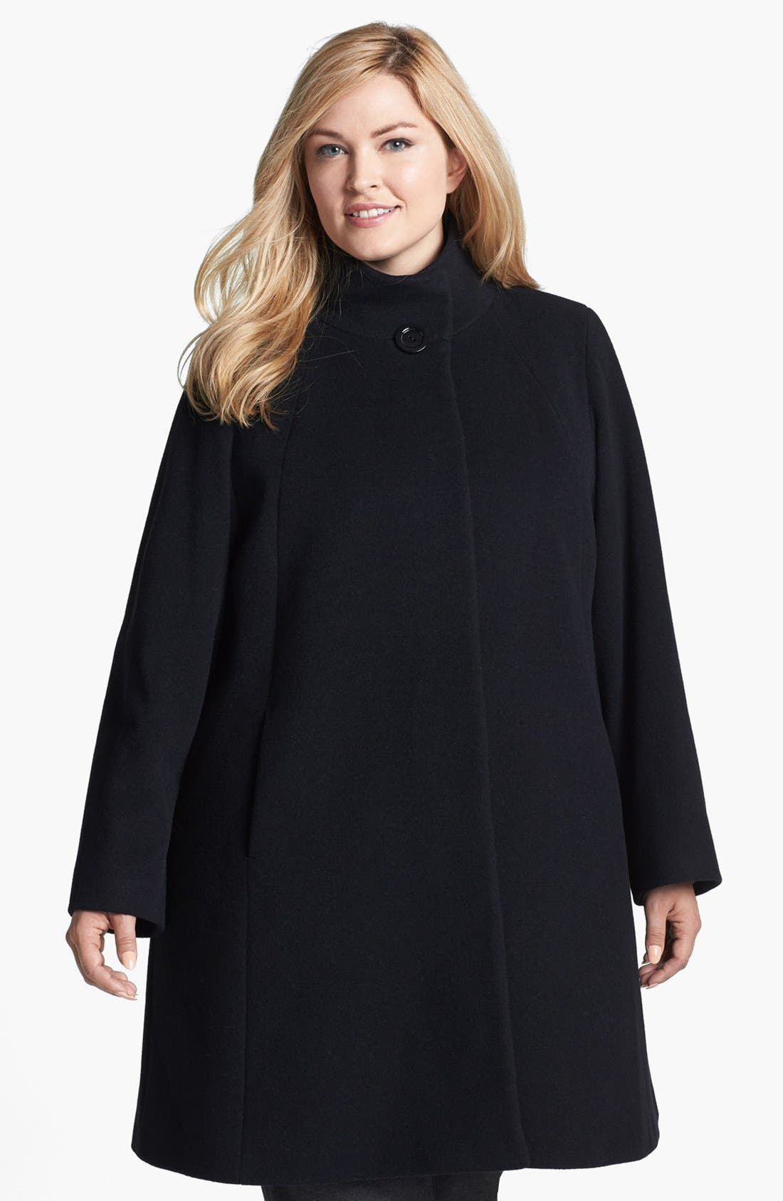 Main Image - Cinzia Rocca Due Stand Collar Wool & Angora Blend Walking Coat (Plus Size)