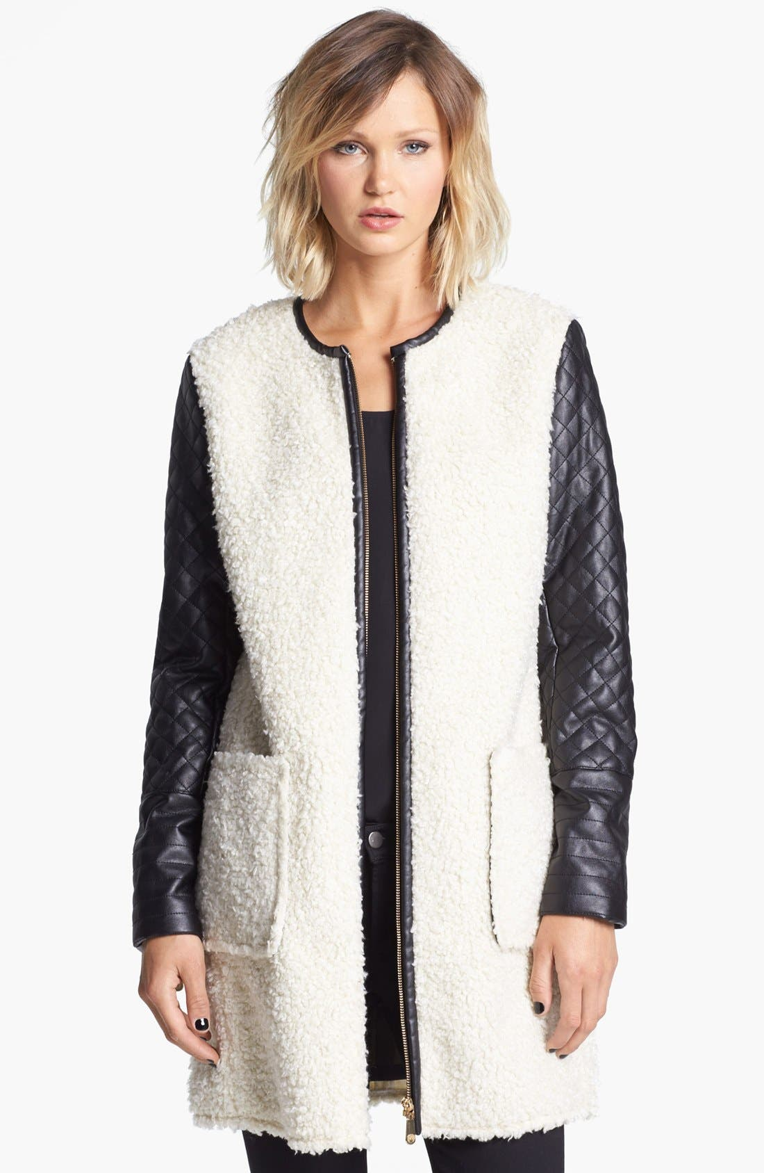 Faux Shearling & Faux Leather Coat,                         Main,                         color, Cream/ Black