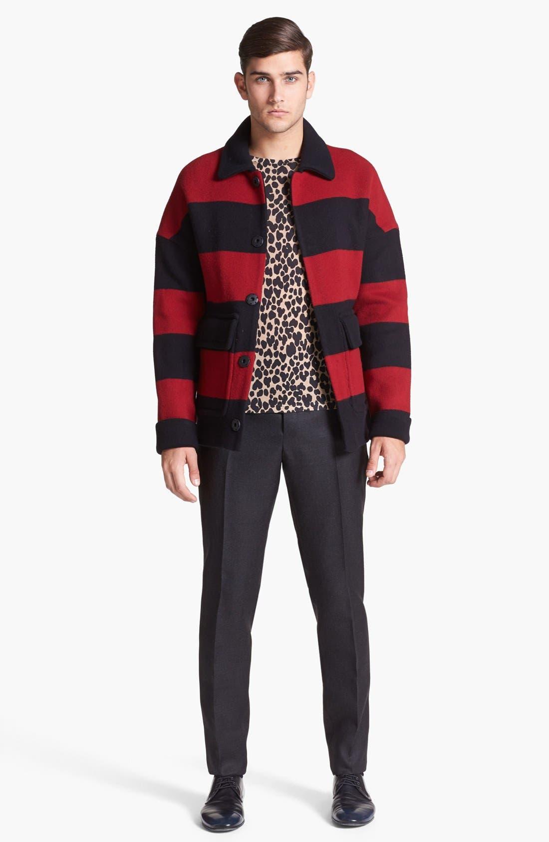 Alternate Image 4  - Burberry Prorsum Stripe Wool Blend Coat
