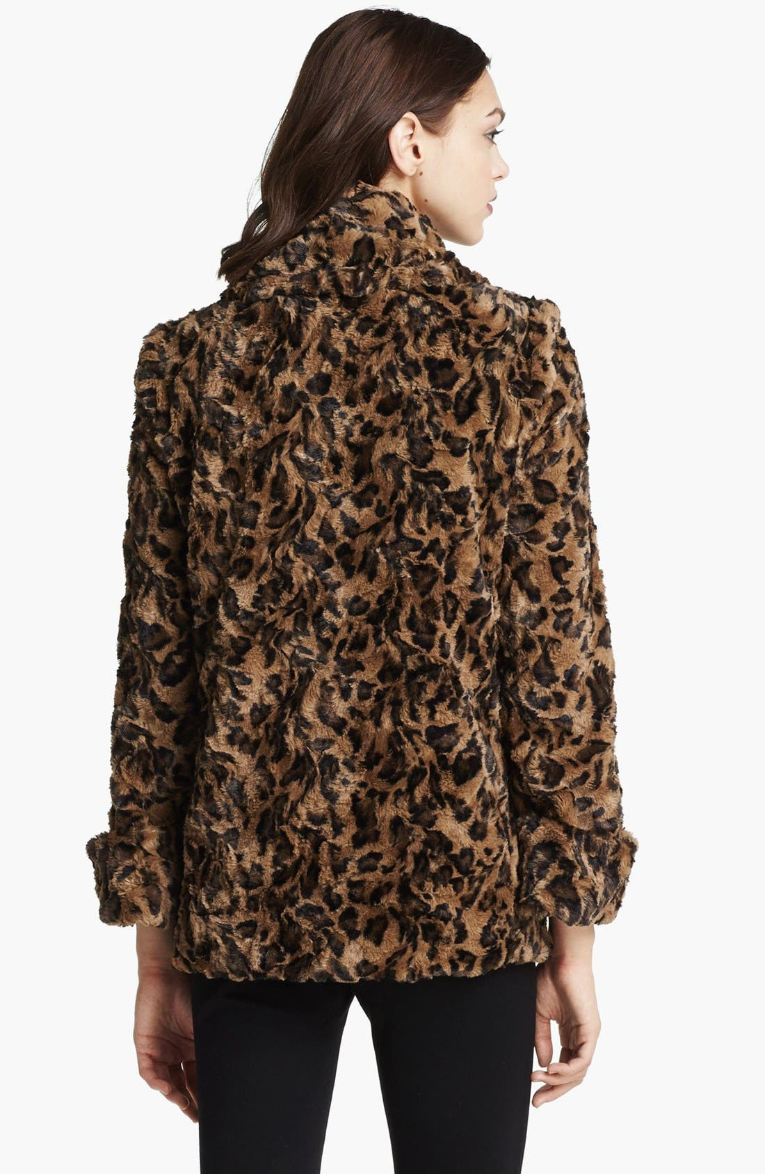 Alternate Image 3  - Alice + Olivia Leopard Print Faux Fur Jacket