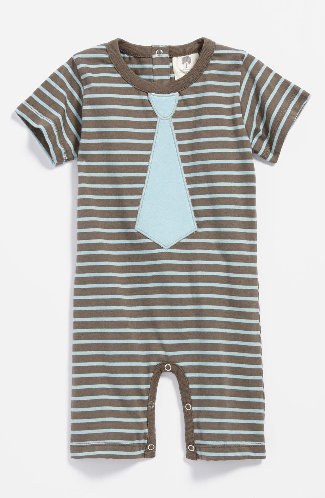 Alternate Image 1 Selected - Kate Quinn Organics Tie Appliqué Bodysuit (Baby Boys)